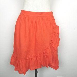 J. Crew 100% Linen Faux Wrap Ruffle Skirt